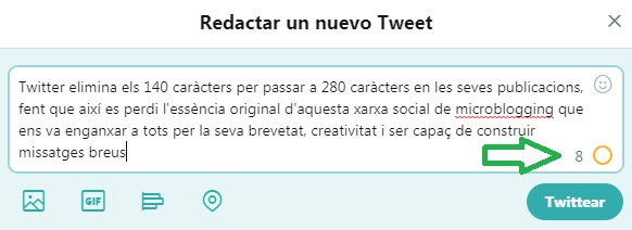 Twitter 280 caràcters menys