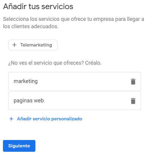 Google My Business - Servicios